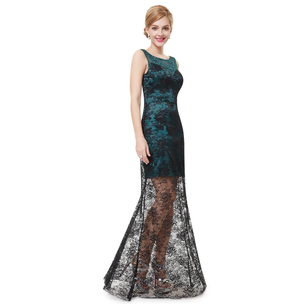 Zeleno černé společenské šaty s dlouhou krajkovou sukní