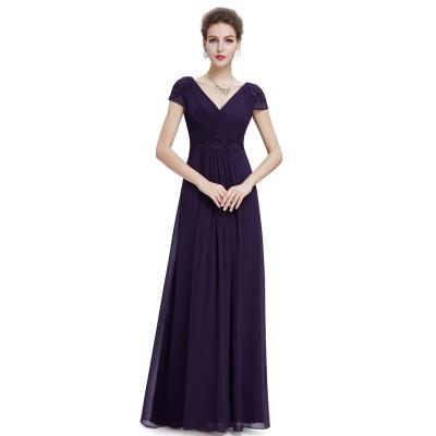 Dlouhé fialové šaty s krátkými rukávy