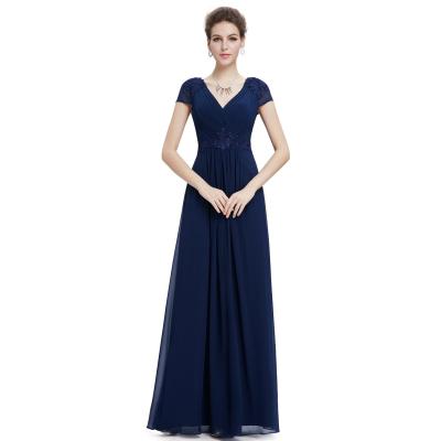 Dlouhé tmavě modré šaty s krátkými rukávy