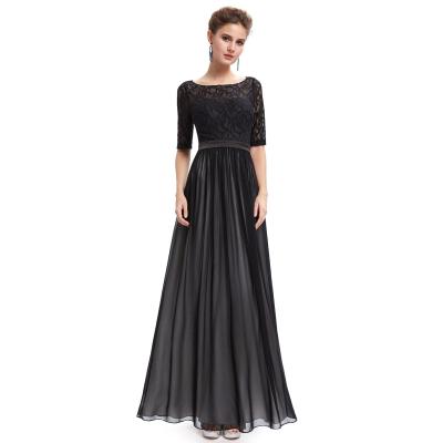Dlouhé černé šaty s kratšími rukávy
